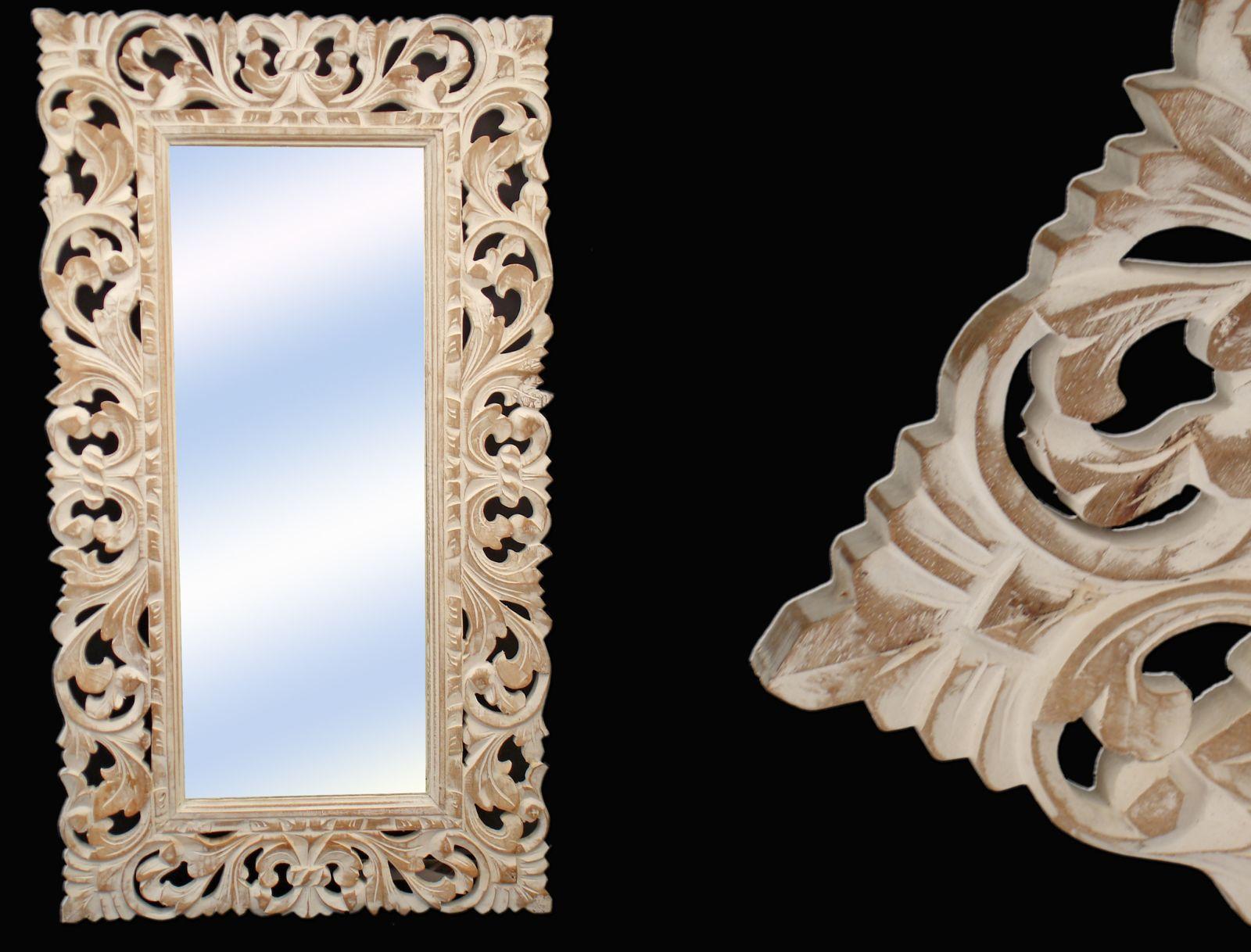 Specchio cornice legno bianco decape 39 cm h100x55 - Specchio provenzale ...