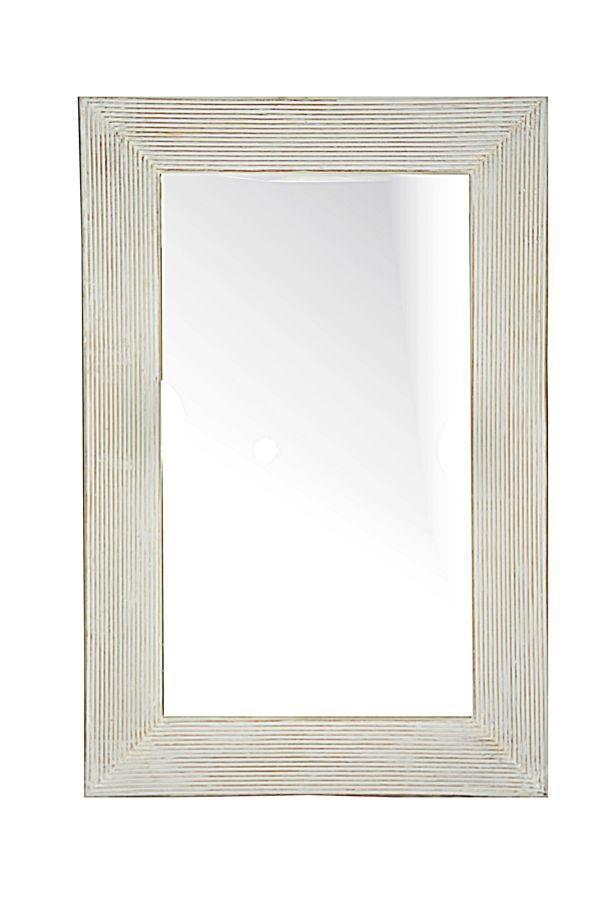 Specchio Cm 120x80 Cornice Mille Righe Bianco Decapato