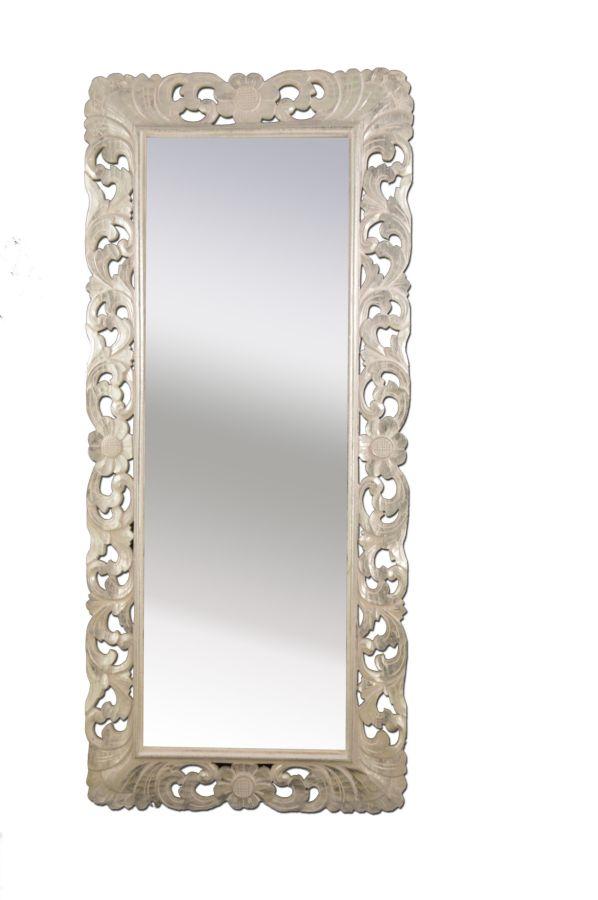 Specchio provenzale fiori cm h180x80 foglia argento - Specchio provenzale ...
