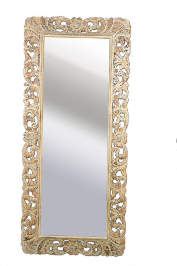 Specchio provenzale fiori cm h180x80 bianco decapato - Specchio provenzale ...