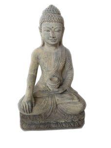 BUDDHA THAILANDESE CON GAMBE INCROCIATE IN POLVERE DI PIETRA CM H60X38X30 C