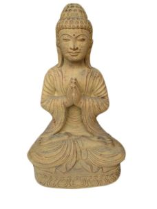 BUDDHA THAILANDESE CON GAMBE INCROCIATE IN POLVERE DI PIETRA CM H48X26X20 C